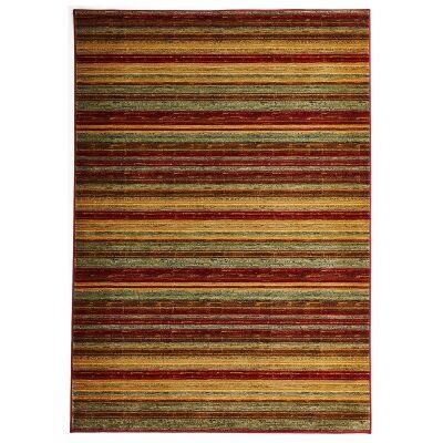 Byblos Rustic Stripe Egyptian Made Modern Rug, 290x200cm, Ochre / Red
