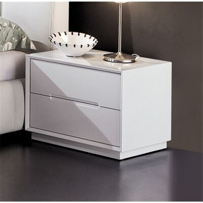 Valentino 2 Drawer Bedside in High Gloss White