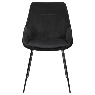 Bellagio Commercial Grade Velvet Fabric Dining Chair, Black