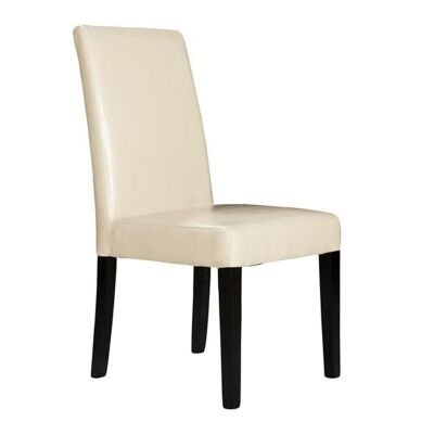 Gothenburg PU Leather Dining Chair with Dark Legs - Ivory