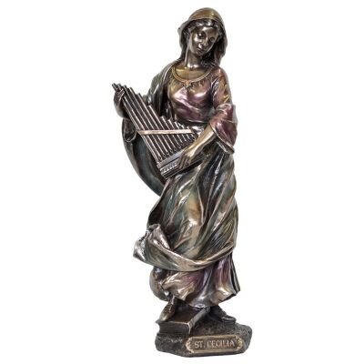 Veronese Cold Cast Bronze Coated Figurine, St. Cecilia