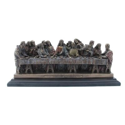 Veronese Cold Cast Bronze Coated Figurine, Leonardo Da Vinci's Last Supper, Small