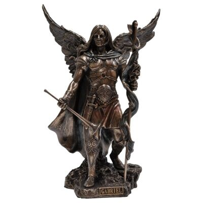 Veronese Cold Cast Bronze Coated Angel Figurine, Gabriel