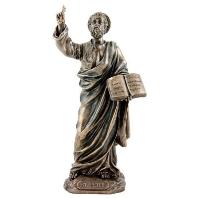 Veronese Cold Cast Bronze Coated Figurine, St. Peter