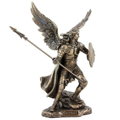 Veronese Cold Cast Bronze Coated Angel Figurine, Raphael