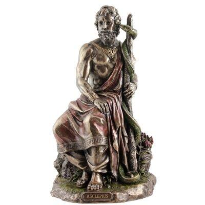 Veronese Cold Cast Bronze Coated Greek Mythology Figurine, Asclepios