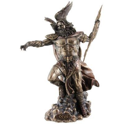 Cast Bronze Greek Mythology Figurine, Zeus Holding Thunderbolt