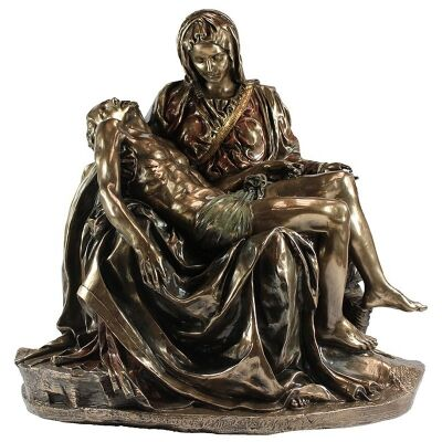 Veronese Cold Cast Bronze Coated Figurine, Michelangelo's Pieta, Large