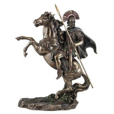 Cast Bronze Figurine of Roman Centurion on Horse