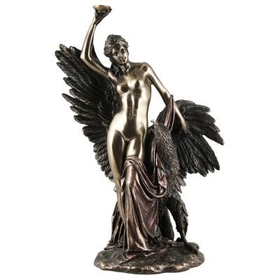 Cast Bronze Greek Mythology Figurine, Hebe and The Eagle of Jupiter
