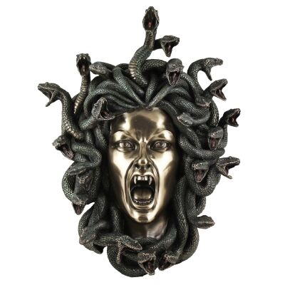 Cast Bronze Greek Mythology Figurine Wall Art, Medusa's Head