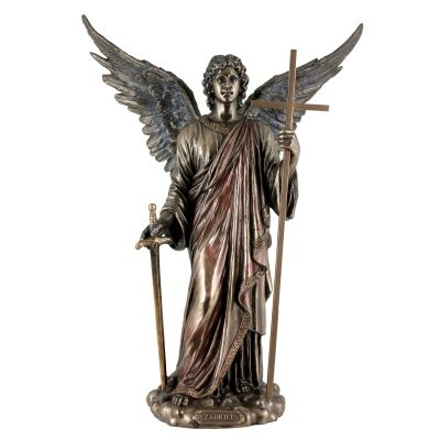 Cast Bronze Angel Figurine, Zadkiel, Archangel of Freedom and Mercy