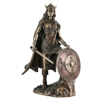 Cast Bronze Figurine of Viking Shieldmaiden