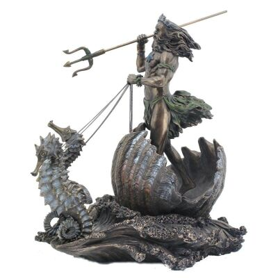 Veronese Cold Cast Bronze Coated Greek Mythology Figurine, Poseidon Riding Sea Chariot