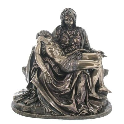 Veronese Cold Cast Bronze Coated Figurine, Michelangelo's Pieta, Small