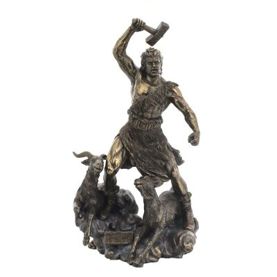 Veronese Cold Cast Bronze Coated Norse Mythology Figurine, Thor