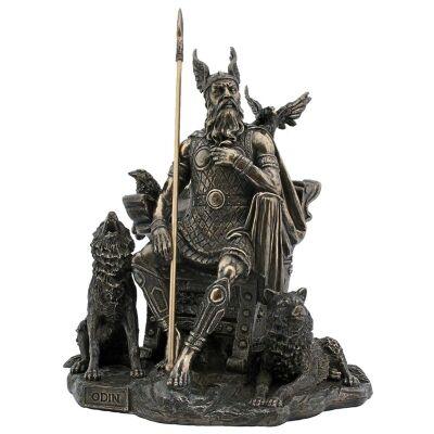 Veronese Cold Cast Bronze Coated Norse Mythology Figurine, Odin