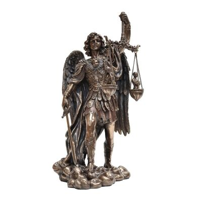 Veronese Cold Cast Bronze Coated Angel Figurine, Michael Weighting Souls