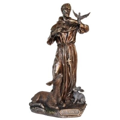 Veronese Cold Cast Bronze Coated Figurine, St Francis of Assisi