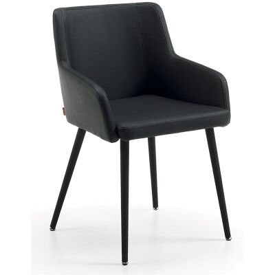 Tryon PU Leather Dining Armchairs, Black