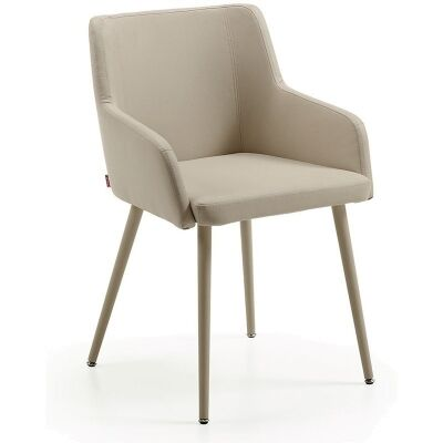 Tryon PU Leather Dining Armchairs, Pearl