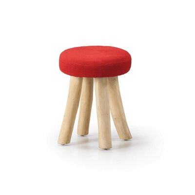 Warren Solid Teak Timber Stool with Fabric Seat, Red