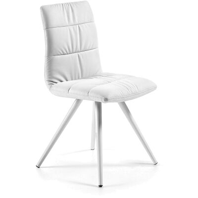 Lyme PU Leather Dining Chair, Steel Leg, White