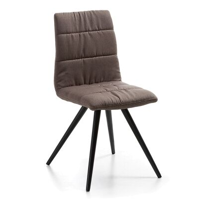 Lyme Fabric Dining Chair, Steel Leg, Brown / Black