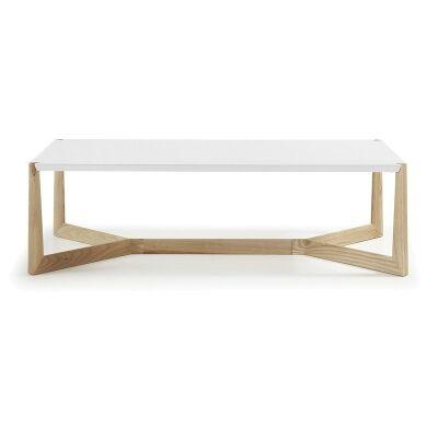Amias 120cm Rectangular Coffee Table -White/Natural
