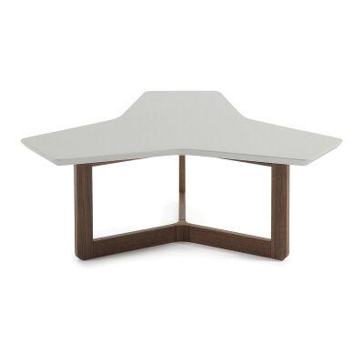 Amias Triangle Coffee Table, 94cm, Grey / Walnut