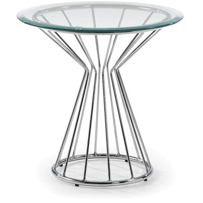 Coronet Glass and Steel Round Side Table