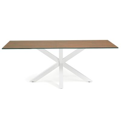 Bromley Ceramic Glass & Epoxy Steel Dining Table, 200cm, Iron Corten / White