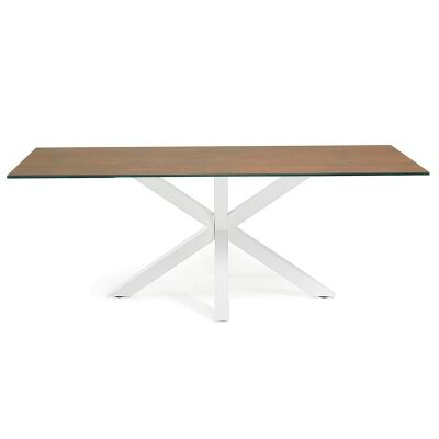 Bromley Ceramic Glass & Epoxy Steel Dining Table, 180cm, Iron Corten / White