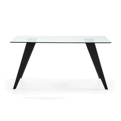 Neville Tempered Glass & Steel Dining Table, 160cm, Clear / Black