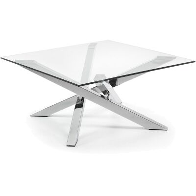 Ufford Glass Top 90cm Square Coffee Table - Clear/Sliver