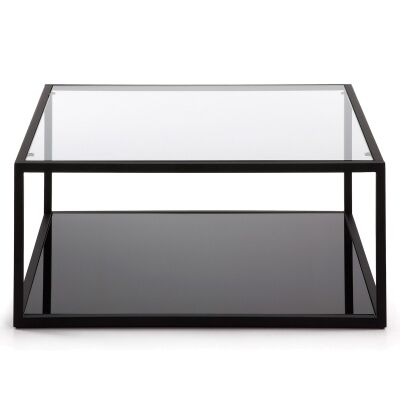 Clipstone Glass Topped Steel Square Coffee Table, 80cm, Black