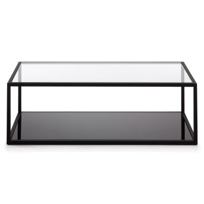 Clipstone Glass Topped Steel Coffee Table, 110cm, Black