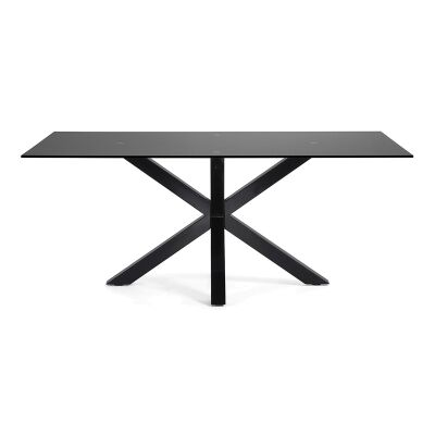 Bromley Tempered Glass & Epoxy Steel Dining Table, 180cm, Black