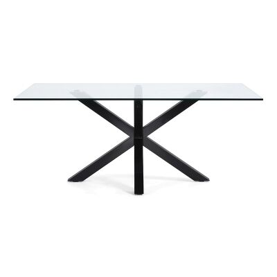Bromley Tempered Glass & Epoxy Steel Dining Table, 180cm, Clear / Black