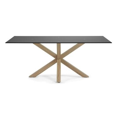 Bromley Tempered Glass & Steel Dining Table, 200cm, Black / Natural