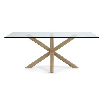 Bromley Tempered Glass & Steel Dining Table, 200cm, Clear / Natural