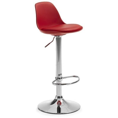 Blurton Adjustable Bar Stool, Red