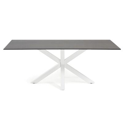 Bromley Ceramic Glass & Epoxy Steel Dining Table, 160cm, Iron Moss / White
