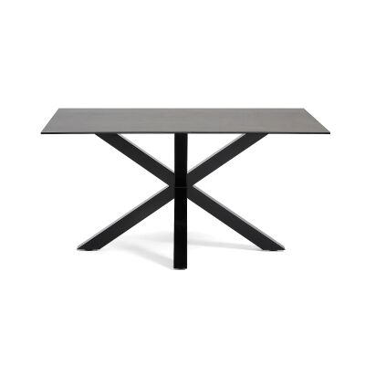 Bromley Ceramic Glass & Epoxy Steel Dining Table, 160cm, Iron Moss / Black