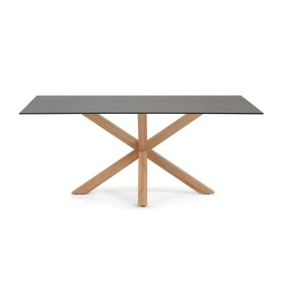Bromley Ceramic Glass & Steel Dining Table, 160cm, Iron Moss / Natural