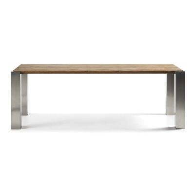Trent Solid Oak Timber and Stainless Steel 180cm Dining Table