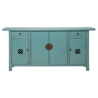 Canala Pine Timber 4 Door 2 Drawer Sideboard, 192cm, Distressed Turquoise