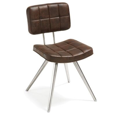 Rosina PU Leather Side Chair, Brown / Silver
