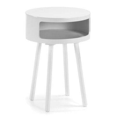 Kennington Wooden Round Side Table, White
