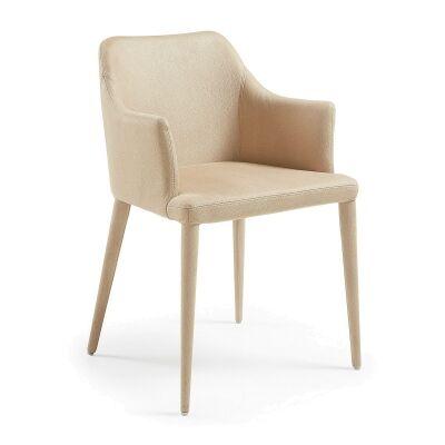 Danya Nubuck Fabric Dining Armchair, Beige
